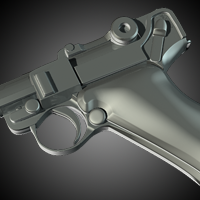 Modeling a Luger P08 using Subdivision Surfaces in Maya – Day 2