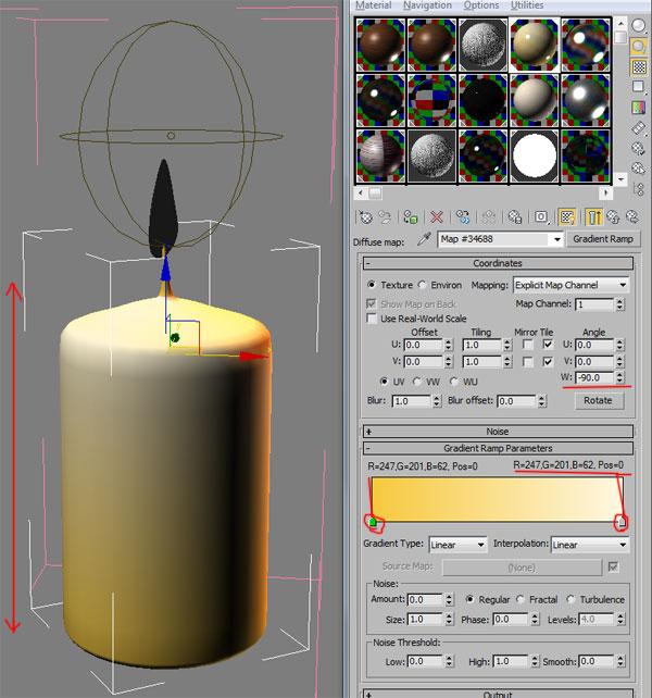 VRay материал свечи
