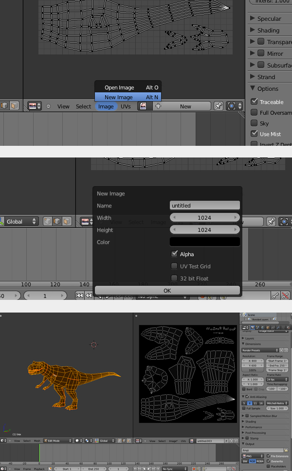 Modeling, UVmapping And Texturing A Low Poly T-Rex In Blender