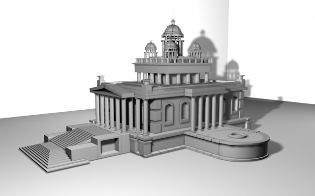Моделирование храма в Maya